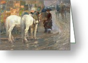 Advertisements Greeting Cards - Paris Street Scene Greeting Card by Childe Hassam