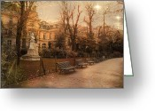 Park Benches Greeting Cards - Paris Sunset Starlit Romantic Park  Greeting Card by Kathy Fornal