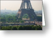 Eiffel Tower Greeting Cards - Paris Tour Eiffel 301 Pollution, Pollution Greeting Card by Pascal POGGI