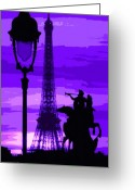 Pfoto Greeting Cards - Paris Tour Eiffel Violet Greeting Card by Yuriy  Shevchuk