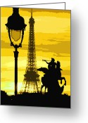 Light  Digital Art Greeting Cards - Paris Tour Eiffel Yellow Greeting Card by Yuriy  Shevchuk