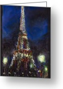 Europe Greeting Cards - Paris Tour Eiffel Greeting Card by Yuriy  Shevchuk