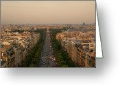City Street Greeting Cards - Paris View At Sunset Greeting Card by CNovo