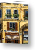 Railings Greeting Cards - Parisian Bistro and Butcher Shop Greeting Card by Marilyn Dunlap
