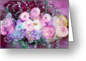 Pink Flower Prints Mixed Media Greeting Cards - Parisian Greeting Card by Don  Wright