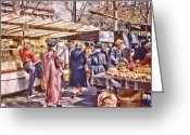 Staley Art Greeting Cards - Parisian Market 1954 Greeting Card by Chuck Staley