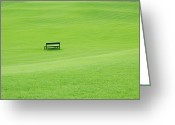 Empty Park Bench Greeting Cards - Park Bench On Grass Greeting Card by Imagewerks