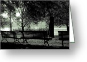 Gloomy Greeting Cards - Park Benches In Autumn Greeting Card by Joana Kruse