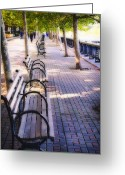 Park Benches Greeting Cards - Park Benches in Hoboken Greeting Card by George Oze