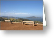 Empty Park Bench Greeting Cards - Park Benches Overlooking Angel Island And Sf Bay Greeting Card by Jason Todd