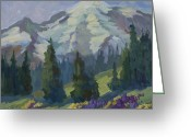 Pine Trees Painting Greeting Cards - Park Sunrise at Mount Rainier Greeting Card by Diane McClary