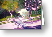 Recreation Mixed Media Greeting Cards - Park Trails 2           Greeting Card by Kathy Braud