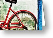 Bicycle Greeting Cards - Parked Bicycle in Vibrant Colors Greeting Card by Skip Nall
