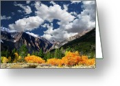 Mountain Range Greeting Cards - Parker Canyon Fall Colors Californias High Sierra Greeting Card by Bill Wight CA