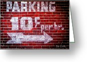 Gas Greeting Cards - Parking Ten Cents Greeting Card by Bob Orsillo