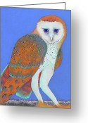 Woods Pastels Greeting Cards - Parliament of Owls detail 1 Greeting Card by Tracy L Teeter