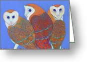 Woods Pastels Greeting Cards - Parliament of Owls detail 2 Greeting Card by Tracy L Teeter