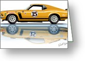 1970 Greeting Cards - Parnelli Jones Trans Am Mustang Greeting Card by David Kyte