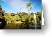 Green Water Greeting Cards - Parque del Buen Retiro Greeting Card by Fabrizio Troiani