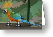 Roller Skates Greeting Cards - Parrot on skates Greeting Card by Ruth Hallam