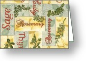 Food And Beverage Painting Greeting Cards - Parsley Collage Greeting Card by Debbie DeWitt