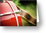 Drum Greeting Cards - Part Of Red Bass Drum With Acoustic Guitar Greeting Card by Matthias Hombauer photography