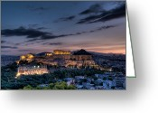 Parthenon Greeting Cards - Parthenon and Acropolis at dawn Greeting Card by Michael Avory