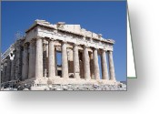 Pillar Greeting Cards - Parthenon front Facade Greeting Card by Jane Rix