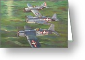 Fighters Painting Greeting Cards - Partners in Fame 2 Greeting Card by Murray McLeod