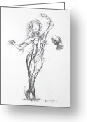Expressive Drawings Greeting Cards - Partners in the Dance Greeting Card by Mark Johnson