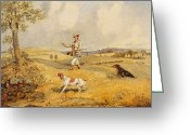 Beagle Greeting Cards - Partridge Shooting  Greeting Card by Henry Thomas Alken