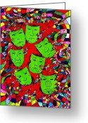 Bright Drawings Greeting Cards - Party Of Seven Greeting Card by Teddy Campagna