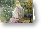 Roses Petals Greeting Cards - Pasie sewing in Bougivals Garden Greeting Card by Berthe Morisot