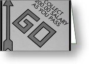 Monopoly Digital Art Greeting Cards - PASS GO in BLACK AND WHITE Greeting Card by Rob Hans