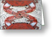 Blue Crab Greeting Cards - Pass The Butter Greeting Card by JoAnn Wheeler