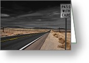 Highway Greeting Cards - Pass With Care Greeting Card by Atom Crawford