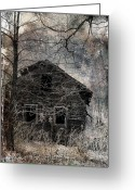 Rural Decay  Digital Art Greeting Cards - Passage Of Time Greeting Card by Gothicolors With Crows