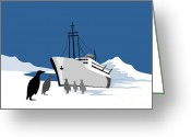 Cargo Greeting Cards - Passenger Ship Cargo Boat Anchor Retro Greeting Card by Aloysius Patrimonio