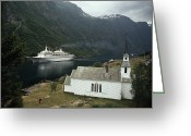 Tourists And Tourism Greeting Cards - Passenger Ship Cruising The Fjords Greeting Card by Paul Chesley