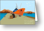 Sea Digital Art Greeting Cards - Passenger Ship Ferry Boat Anchor Retro Greeting Card by Aloysius Patrimonio