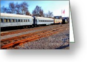 Tanker Train Greeting Cards - Passenger Trains At The Old Sacramento Train Depot . 7D11623 Greeting Card by Wingsdomain Art and Photography