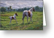Quarter Horses Greeting Cards - Passing It On Greeting Card by Fawn McNeill