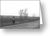 Amish Scenes Greeting Cards - Passing Stranger Greeting Card by Joan Van Houten