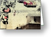Motorcycle Art Greeting Cards - Passing Through Lowry Hill Greeting Card by Susan Stone