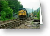 Appalachian Mountains Greeting Cards - Passing Train Historic Passenger Train Depot Greeting Card by Thomas R Fletcher