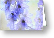 Blue Delphinium Greeting Cards - Passion for Flowers. blue Dreams Greeting Card by Jenny Rainbow
