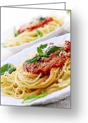 Plates Greeting Cards - Pasta and tomato sauce Greeting Card by Elena Elisseeva