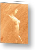 Athletic Digital Art Greeting Cards - Pastel Chiaroscuro Nude Greeting Card by Hakon Soreide
