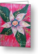 Fushia Painting Greeting Cards - Pastel Rainbow Flower Greeting Card by Judy Via-Wolff