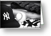 Ny Yankees Baseball Art Greeting Cards - Pastime Essentials Greeting Card by John Rizzuto